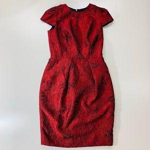 Carmen Marc Valvo Red Black Dress Pockets Sz 6